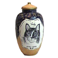 Ceramic Cat Urn: Precious- Custom pet portrait! shown with pet inscription