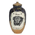 Pet urn with dog portrait plus name and dates
