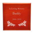 Engraving detail of Birch Piano Hardwood Box Pet Urn