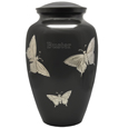 Large Dog Urn - Slate and Pewter Butterflies shown engraeved