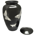 Large Dog Urn - Slate and Pewter Butterflies shown with open lid