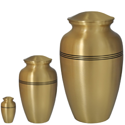 Matching mini, medium and large golden classic urn