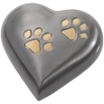 Pet Urn Keepsake: Bronze Pawprint Heart FREE Engraving