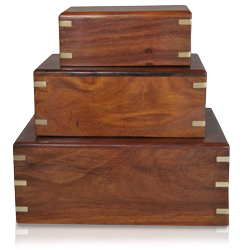 Classic wooden box pet urn shown in small, medium and large