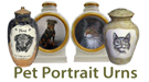 pet portrait urns