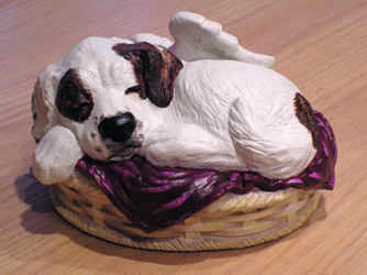 sleeping angel dog cremation urn custom painted white with brown spots