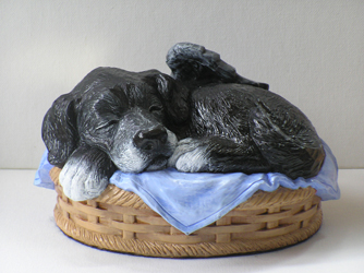 sleeping angel dog cremation urn custom painted black with white paws