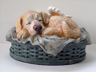 sleeping angel dog cremation urn custom painted golden with brown nose
