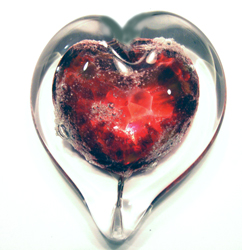 pet memorial boundless heart shown in ruby red
