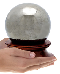 final fetch chrome glass sphere cremation urn shown in hands for size scale