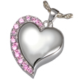 Shine Heart Pink Crystals Pet Cremation Jewelry