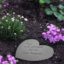 you will always be in our hearts pet memorial garden stone shown in garden
