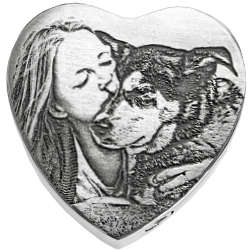 heart-shaped ash-holding pendant engraved with lady embracing dog