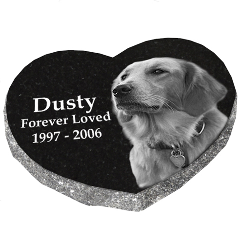 Granite Heart Pet Marker with Photo