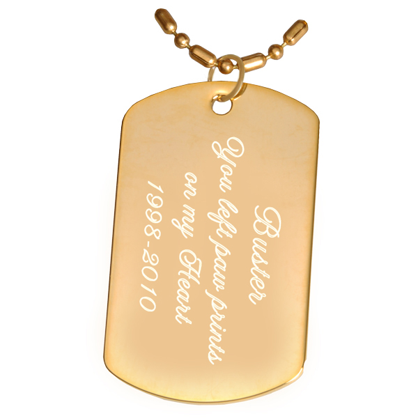 Engraved Goldplated Dog Tag Pendant with chain or keyring