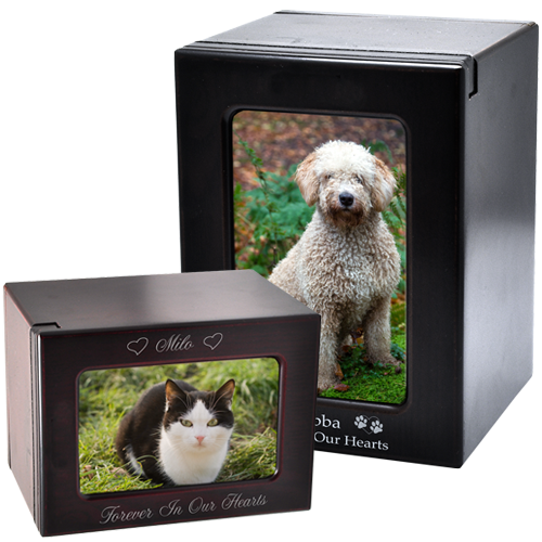 Pet Urn for Ashes Small Dog Urn with Picture Pet Memorial Wooden Pet Urn Cat Urn