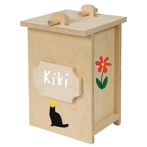 Birch Wood Cat Urn Farewell Pet Kit shown painted