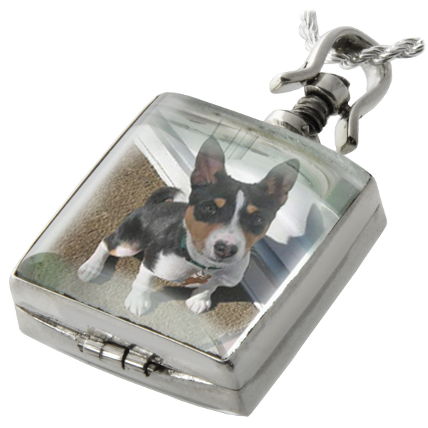 Pet urn jewelry victorian glass locket lock of fur glass square square pet memorial jewelry victorian square locket shown with dog photo aloadofball Images