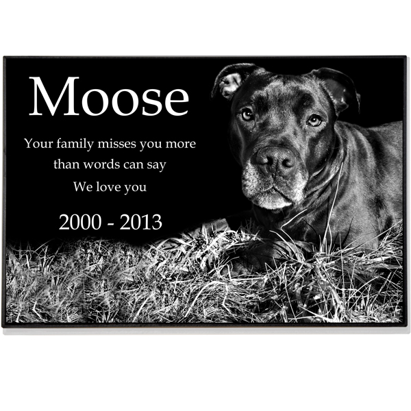 Granite Photo Pet Grave Marker 2 Thick Pet Headstones