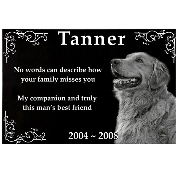 Granite Photo Pet Grave Marker 1 Thick Pet Garden