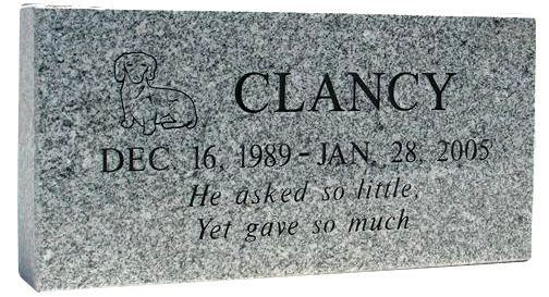 Grey Granite Pet Marker Outdoor Pet Memorials Memorial
