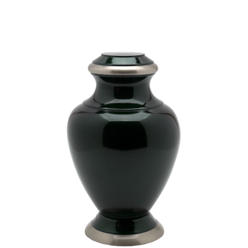 Dark green dog urn