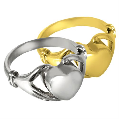 Pet Cremation Jewelry- Heart Ring shown in silver and gold