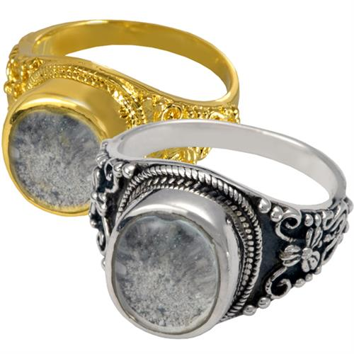 Ornate Pet Ring with Clear Glass Front in silver or gold option