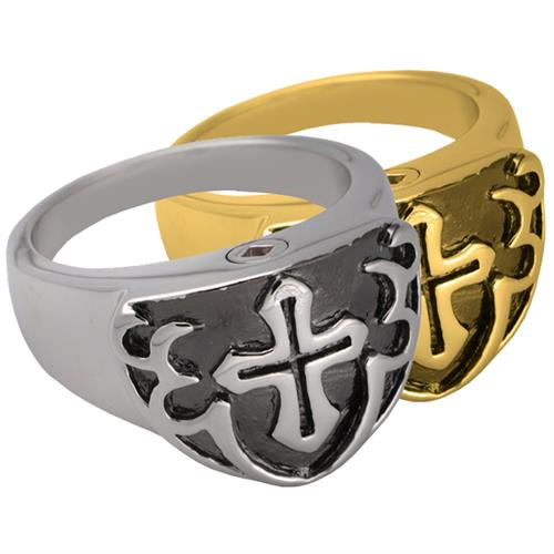 Pet Cremation Jewelry Men's Cross Ring- Black shown in silver and gold