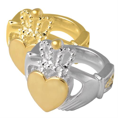 Pet Cremation Jewelry- Claddagh Ring shown in silver and gold