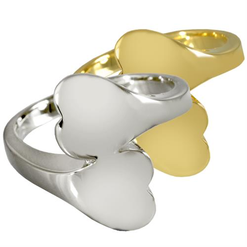 Pet Cremation Jewelry- Companion Heart Ring shown in silver and gold metal