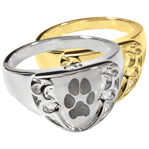 Engravable Shield Ring- Pawprint shown in silver and gold metals