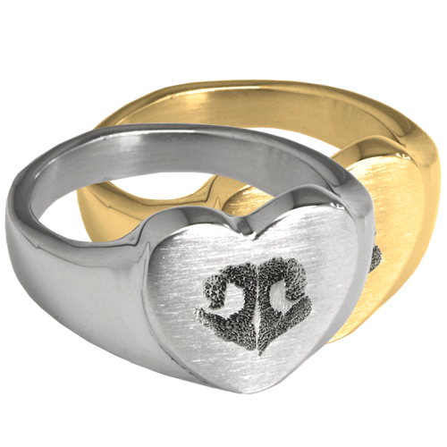 Heart Ring with actual Nose Print in silver and gold