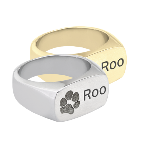Rectangle Ring engraved with paw print and pet name in silver or gold