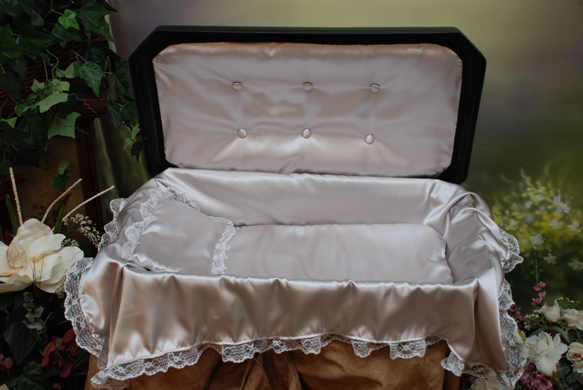 Deluxe Pet Casket- Black with Silver Bedding and upholstery
