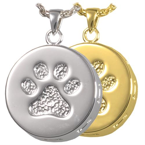 Paw Print & Bones Pet Urn Pendant shown in silver and gold options