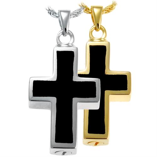 Pet Cremation Jewelry- Black Inlay Cross shown in silver and gold options