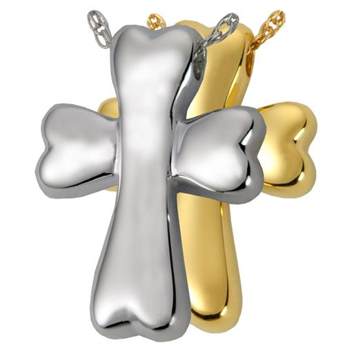 Pet Cremation Jewelry- Dog Bone Cross shown in silver and gold