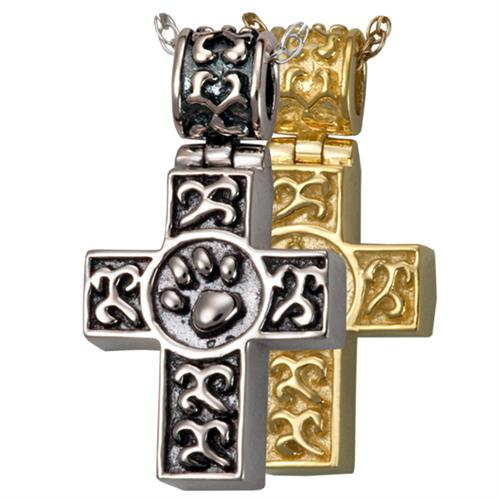 Pet Cremation Jewelry- Paw Print Cross shown in silver and gold options