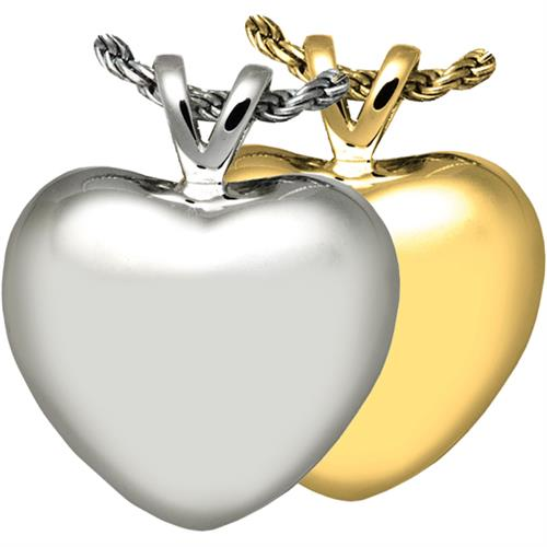 Pet Cremation Jewelry- Strong Heart shown in silver and gold