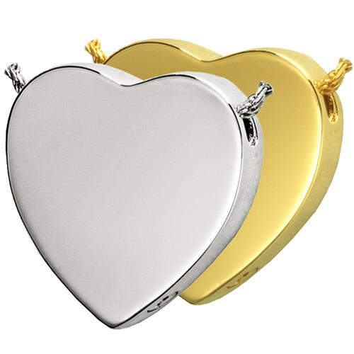 Pet Cremation Jewelry- Peaceful Heart shown in silver and gold metal