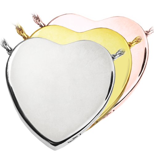 Peaceful Heart shown in silver and gold metals