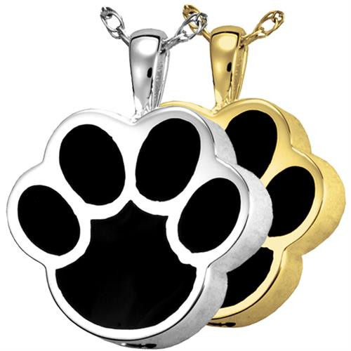 Black Inlay Paw Print Pet Cremation Jewelry shown in silver and gold