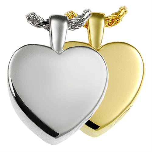 Small Classic Heart Pet Cremation Jewelry shown in silver and gold options