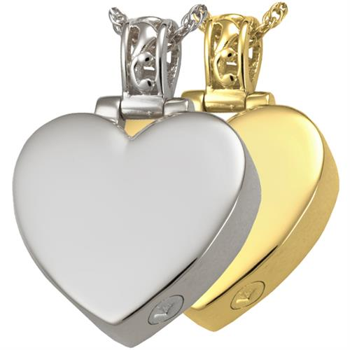 Pet Cremation Jewelry- Heart Filigree Bail shown in silver and gold