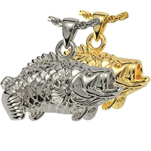 Large Mouth Bass Pet Cremation Jewelry shown in silver or gold