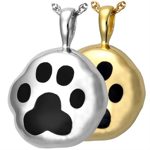 Hammered Paw Print Pet Urn Pendant shown in silver and gold