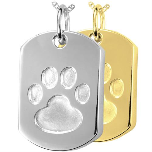 Paw Print Dog Tag Cremation Jewelry shown in silver and gold metals