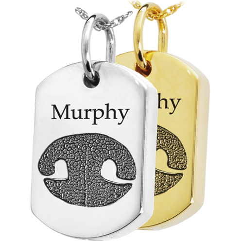 Pet Print Cremation Jewelry- Dog Tag Noseprint in silver and gold