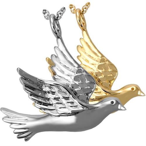 Dove Pet Cremation Jewelry shown in silver and gold options